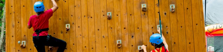 The climbing wall at Massanutten's Family Adventure Park