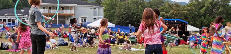Children playing with hula hoops at Summer Jam at Massanutten Resort