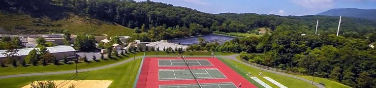 Aerial of the tennis courts at Woodstone Recreation Center