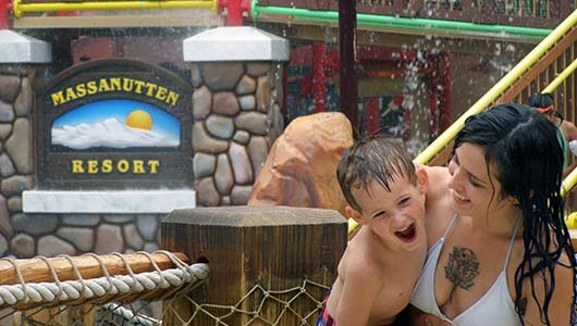 mom and son at waterpark