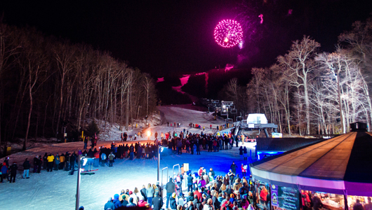 Fireworks on the ski slopes at Snow Moon Fest