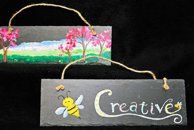 Painted Slate Wall Hanging